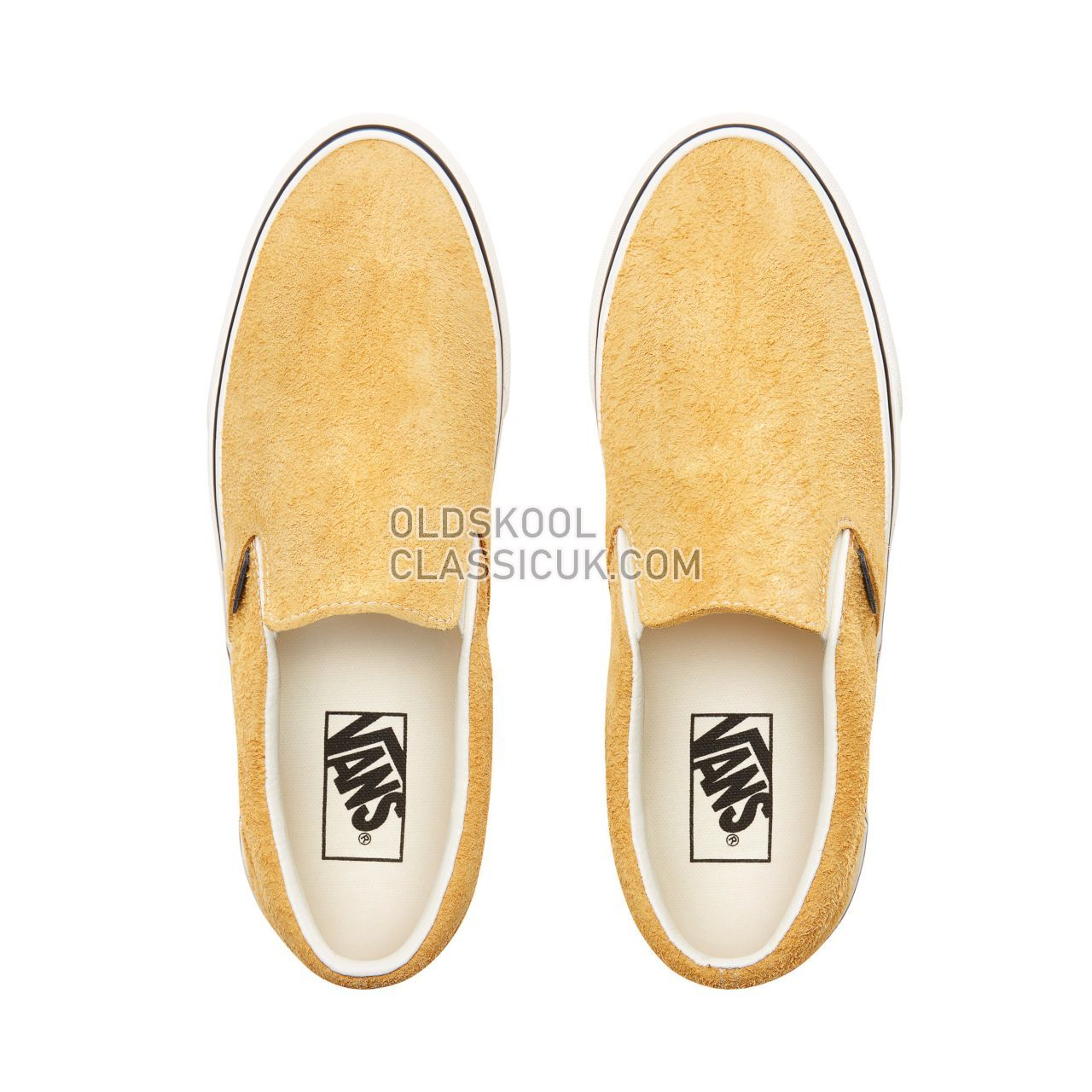 Vans Hairy Suede Classic Slip-On Sneakers Mens (Hairy Suede) Sunflower/Snow White VN0A38F7ULR Shoes