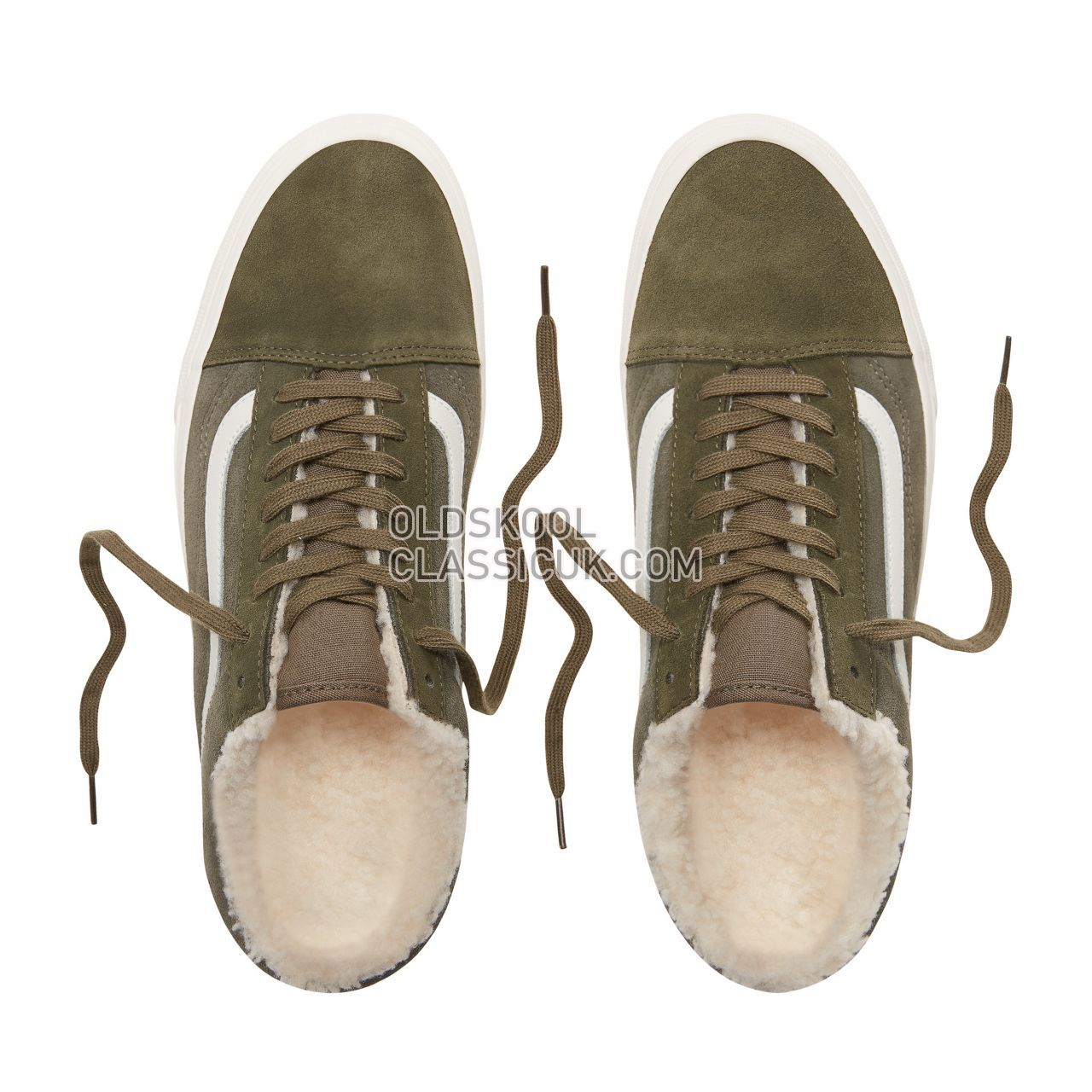 Vans Suede and Sherpa Old Skool Sneakers Mens Womens Unisex (Suede/Sherpa) Grape Leaf/Dusty Olive VN0A38G1ULZ Shoes
