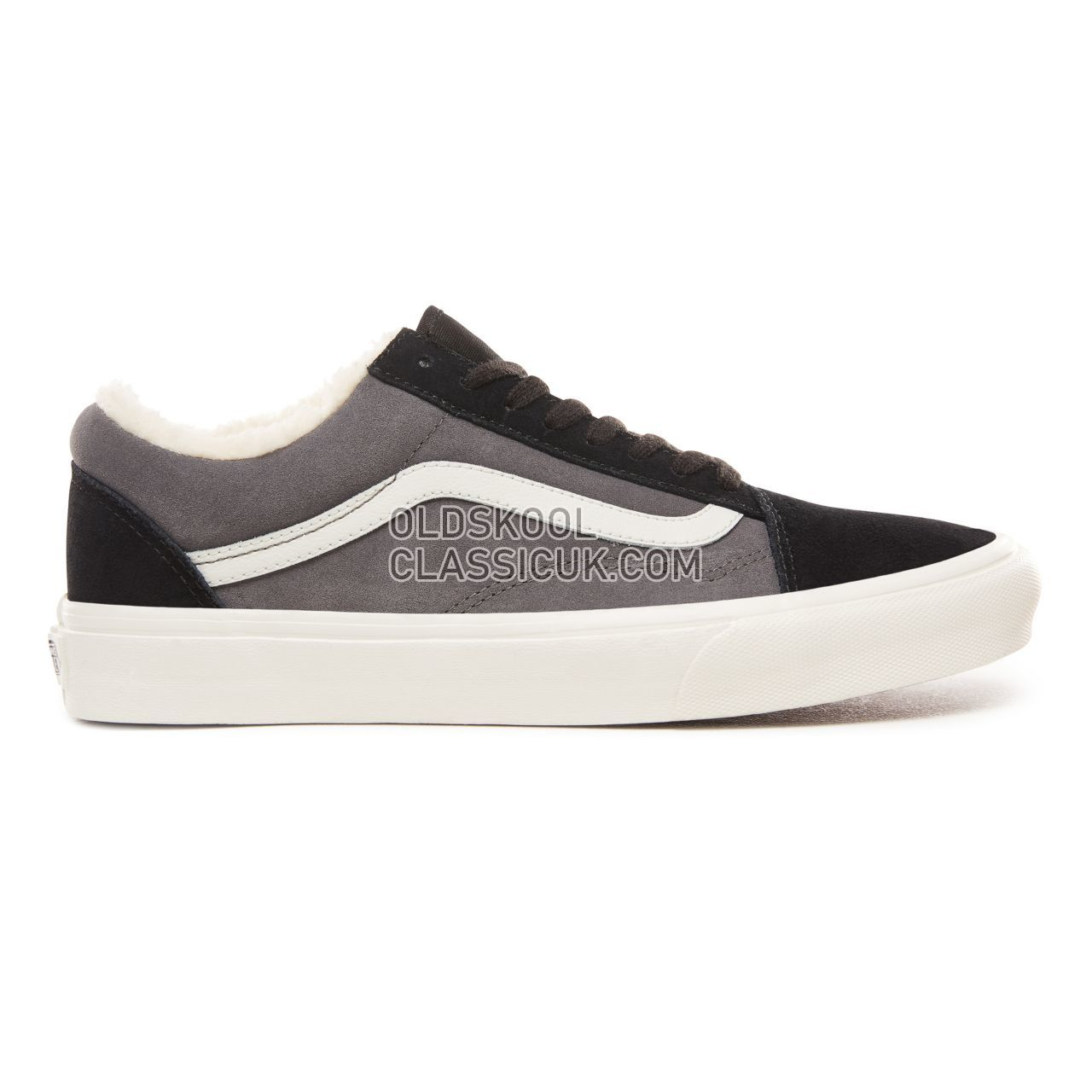 Vans Suede and Sherpa Old Skool Sneakers Mens Womens Unisex (Suede/Sherpa) Black/Pewter VN0A38G1UPE Shoes