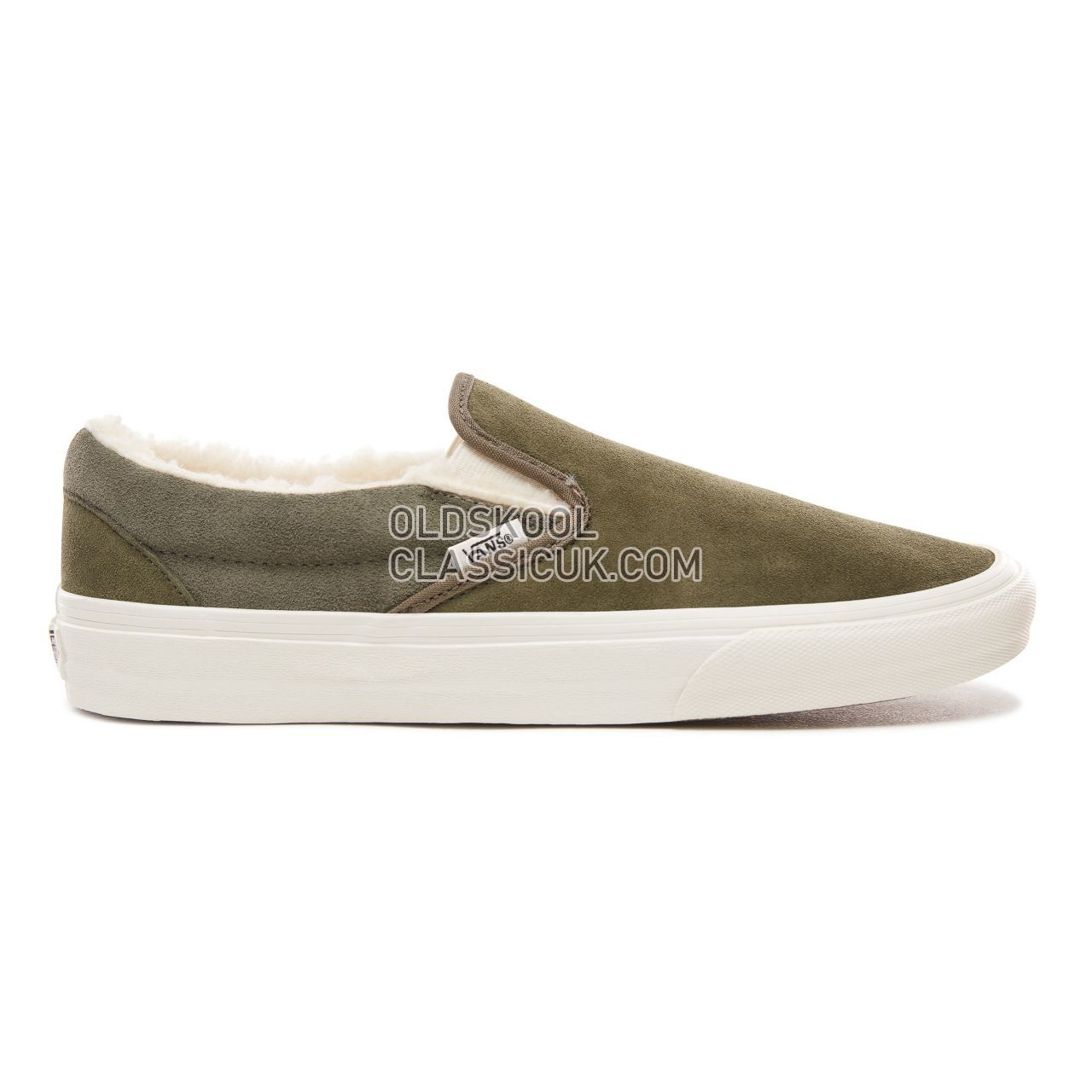 Vans Suede and Sherpa Classic Slip-On Sneakers Mens (Suede/Sherpa) Grape Leaf/Dusty Olive VN0A38F7ULZ Shoes