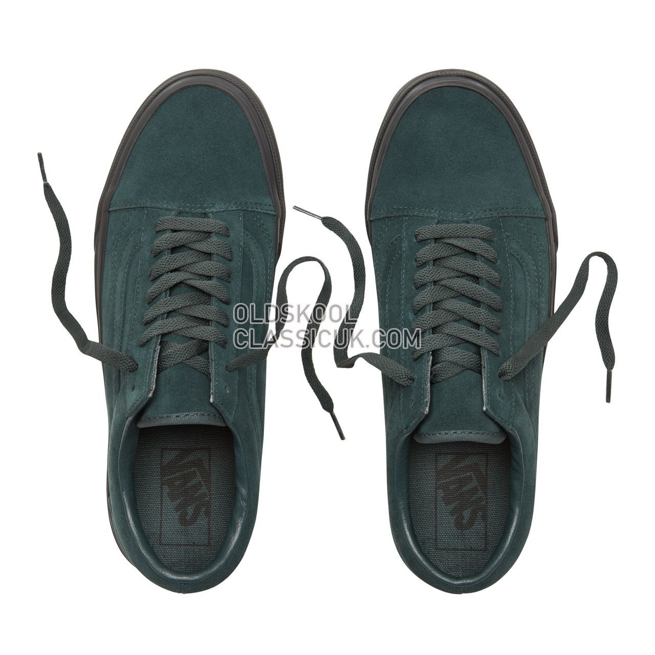 Vans Suede Black Outsole Old Skool Sneakers Mens Womens Unisex (Black Outsole) Darkest Spruce/Black VA38G1U8U Shoes