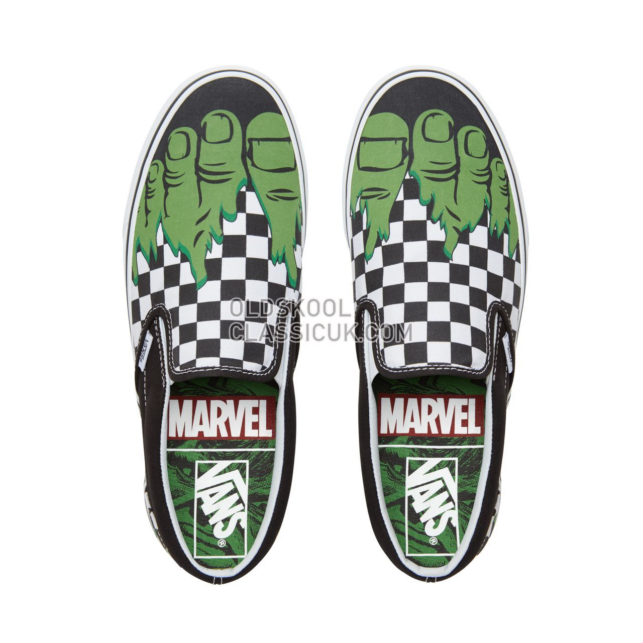 Vans X Marvel Classic Slip-On Sneakers Mens (Marvel) Hulk/Checkerboard VA38F7U44 Shoes