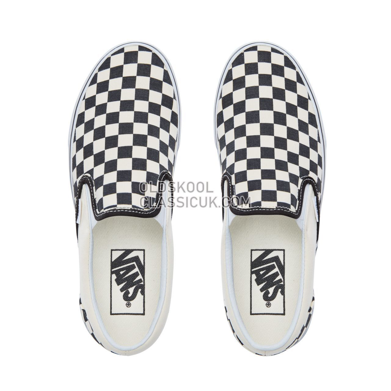Vans Checkerboard Classic Slip-On Sneakers Mens Black and White Checker/White VN000EYEBWW Shoes