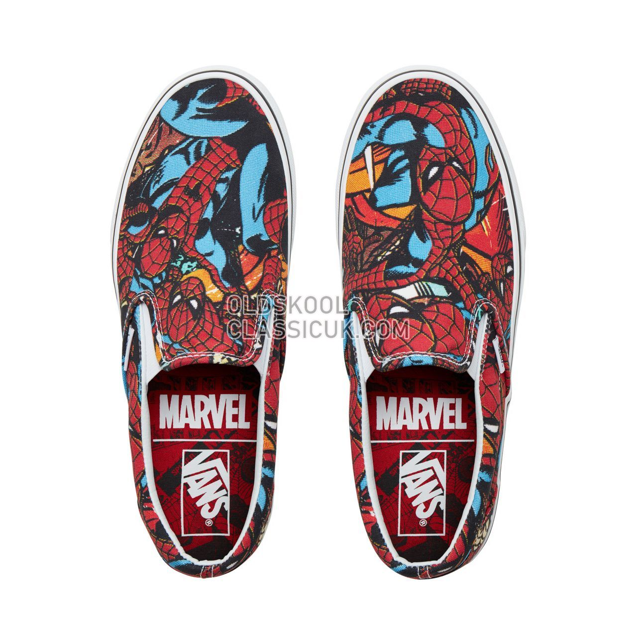 Vans X Marvel Classic Slip-On Sneakers Mens (Marvel) Spider-Man/Black VA38F79H7 Shoes