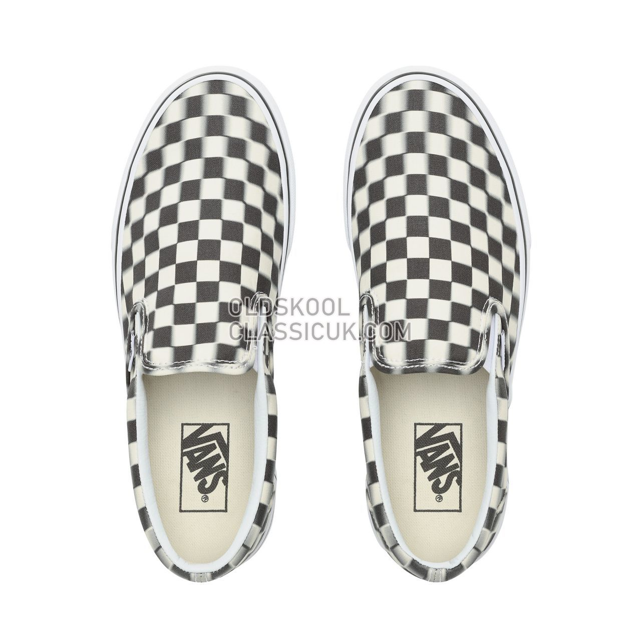 Vans Blur Check Slip-On Sneakers Mens (Blur Check) Black/Classic White VN0A38F7VJM Shoes