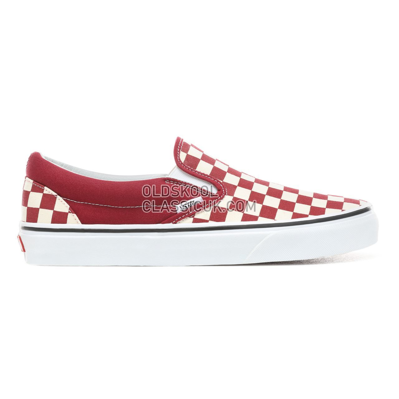 Vans Checkerboard Slip-On Sneakers Mens (Checkerboard) Rumba Red/True White VN0A38F7VLW Shoes