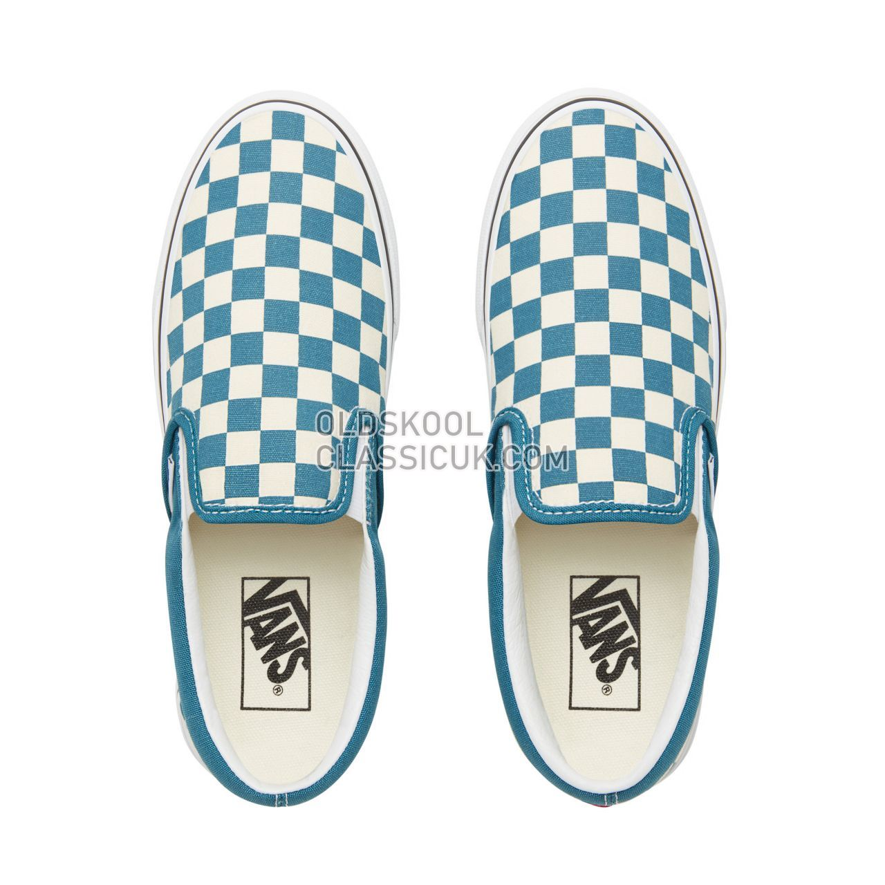 Vans Color Theory Checkerboard Classic Slip-On Sneakers (Unisex) Mens (Checkerboard) Corsair/True White VA38F7U78 Shoes