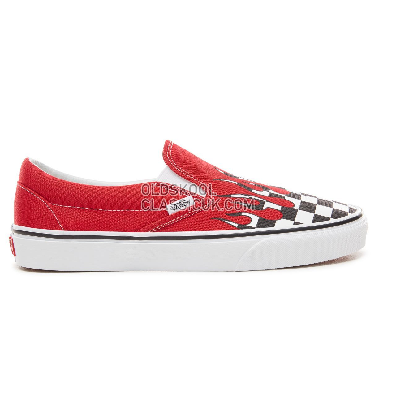 Vans Checker Flame Classic Slip-On Sneakers Mens (Checker Flame) Racing Red/True White VA38F7RX5 Shoes