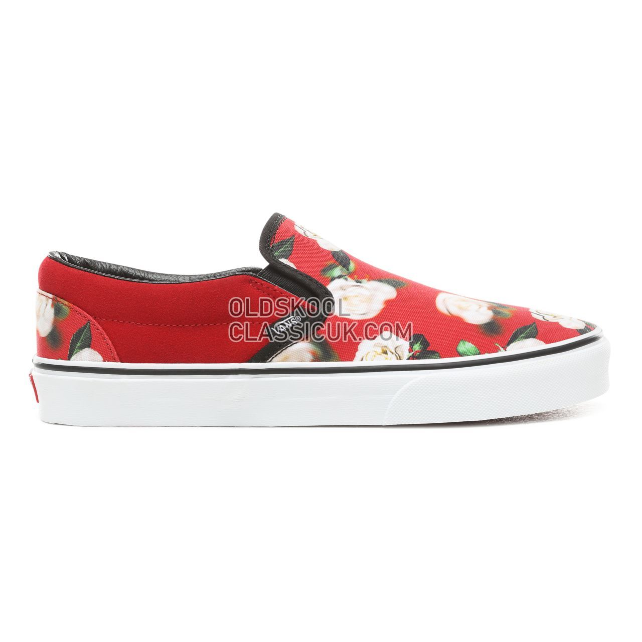 Vans Romantic Floral Slip-On Sneakers Mens (Romantic Floral) Chili Pepper/True White VN0A38F7VMI Shoes