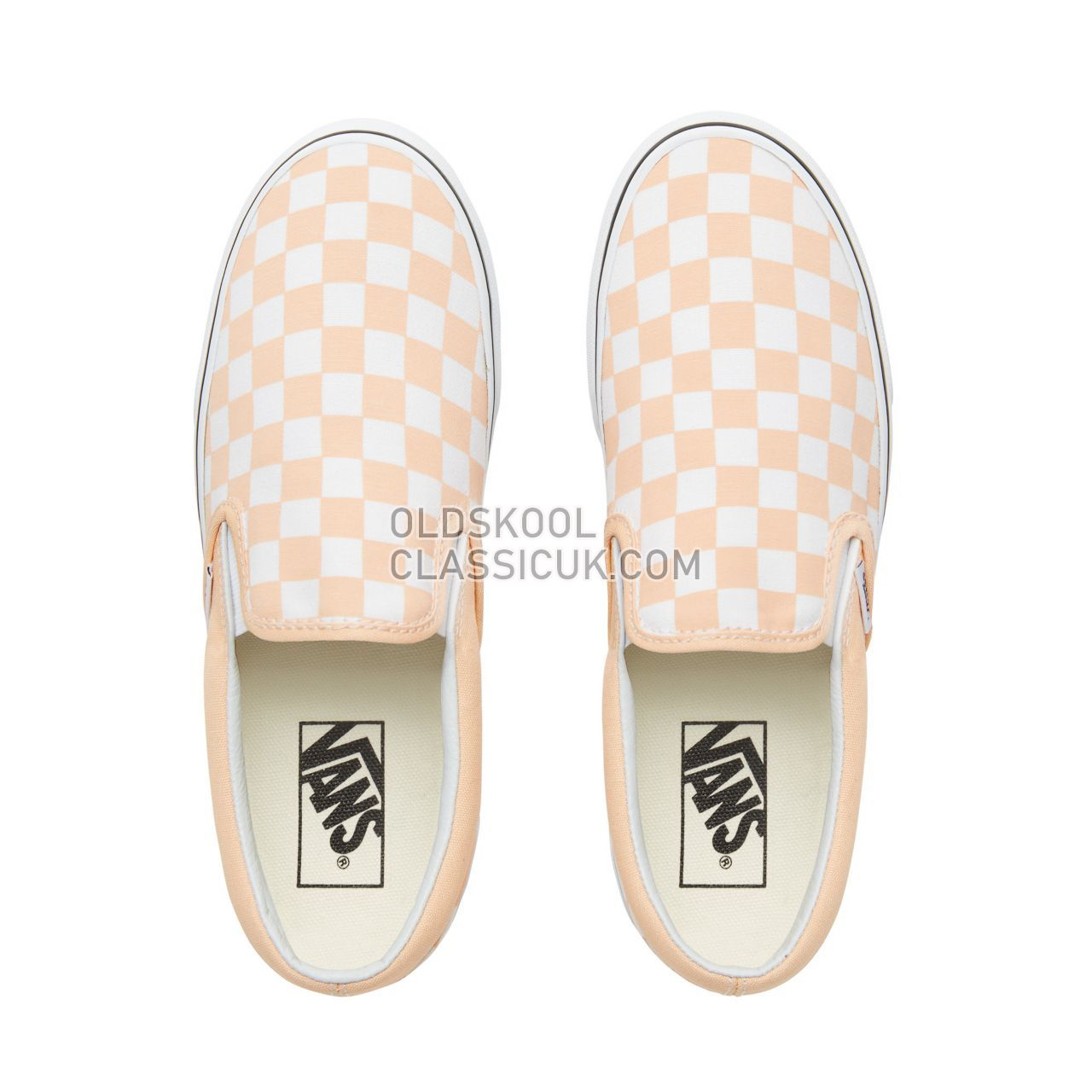 Vans Color Theory Checkerboard Classic Slip-On Sneakers (Unisex) Mens (Checkerboard) Bleached Apricot/True White VA38F7U77 Shoes