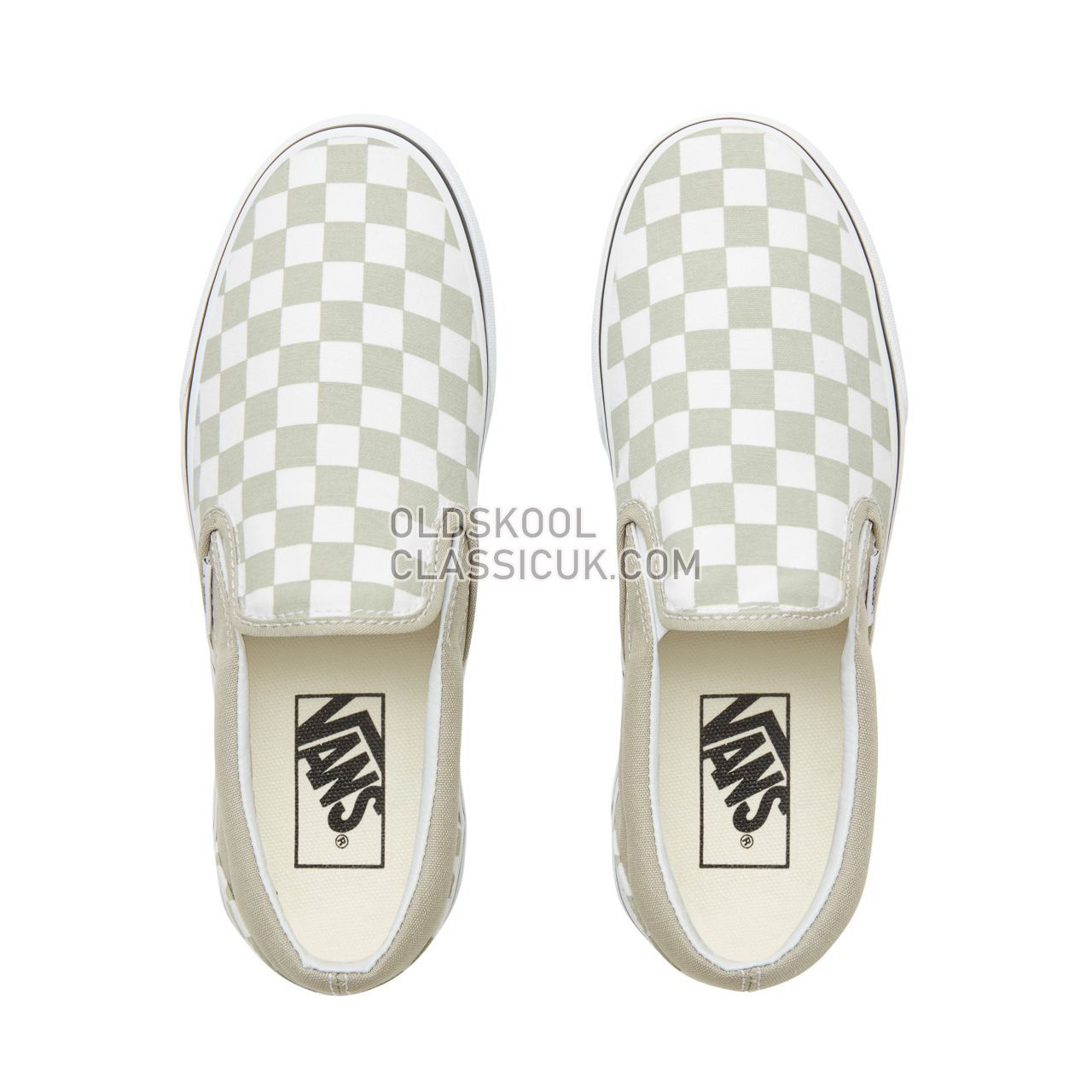 Vans Color Theory Checkerboard Classic Slip-On Sneakers (Unisex) Mens (Checkerboard) Desert Sage/True White VA38F7U79 Shoes