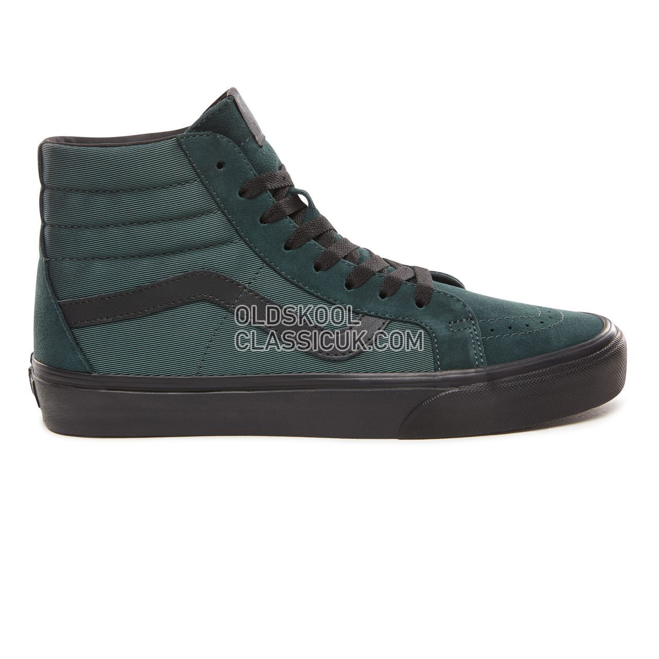 Vans Metallic Twill Sk8-Hi Reissue Sneakers Mens (Metallic Twill) Darkest Spruce/Black VN0A2XSBUQM Shoes