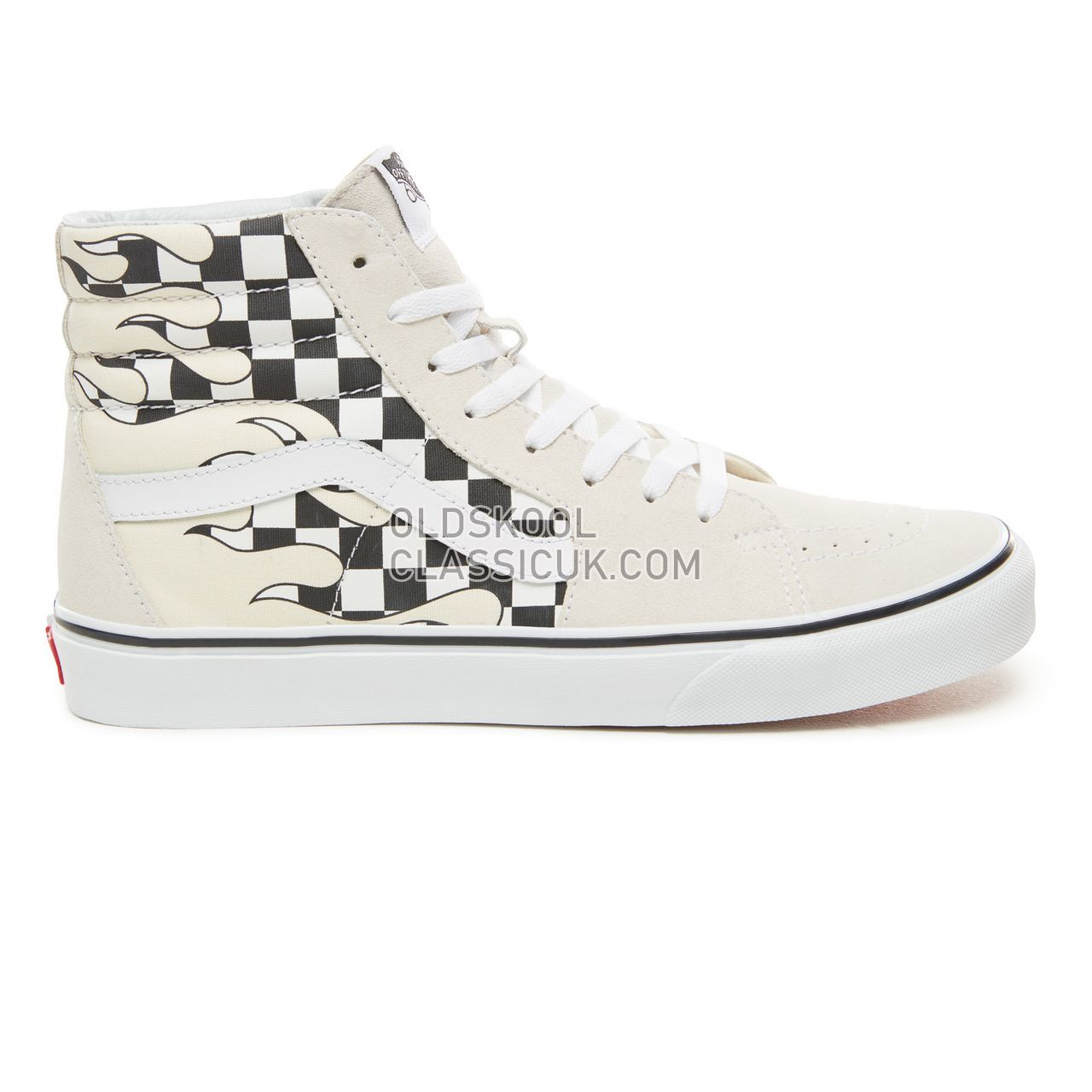 Vans Checker Flame Sk8-Hi Sneakers Mens (Checker Flame) Classic White/True White VA38GERX7 Shoes