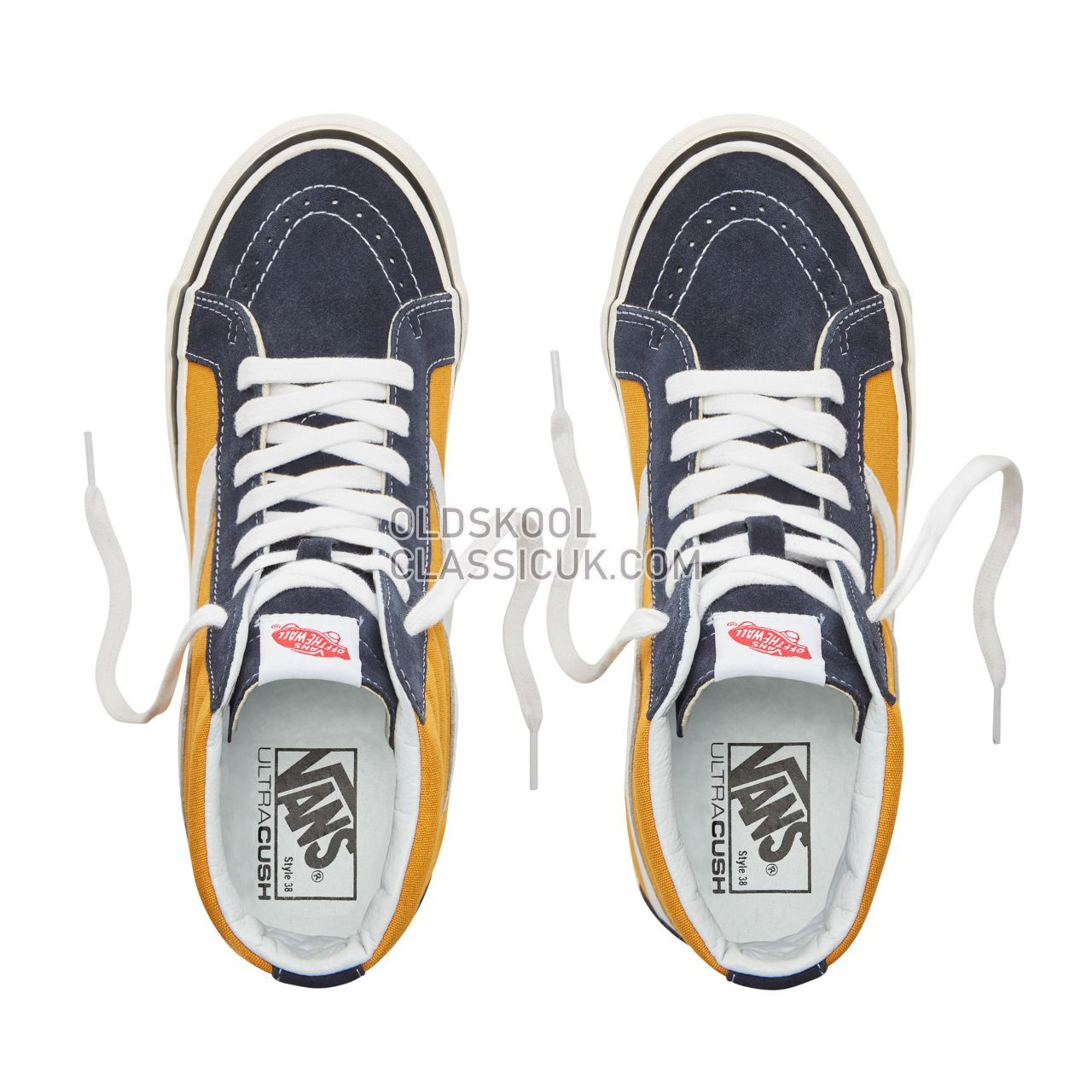 Vans Suede Anaheim Factory Sk8-Hi 38 Sneakers Mens (Anaheim Factory) Og Navy/Og Saffron VA38GFUBT Shoes