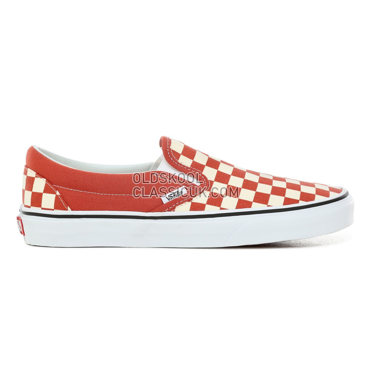 Vans Checkerboard Classic Slip-On Sneakers Mens (Checkerboard) Hot Sauce/True White VN0A38F7ULL Shoes