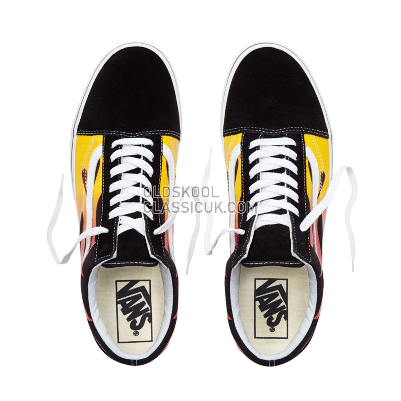 Vans Flame Old Skool Sneakers Mens Womens Unisex Black-True White VA38G1PHN Shoes
