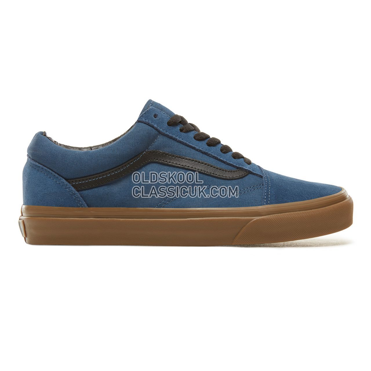 Vans Suede Gum Outsole Old Skool Sneakers Mens Womens Unisex (Gum Outsole) Dark Denim/Black VA38G1U4C Shoes