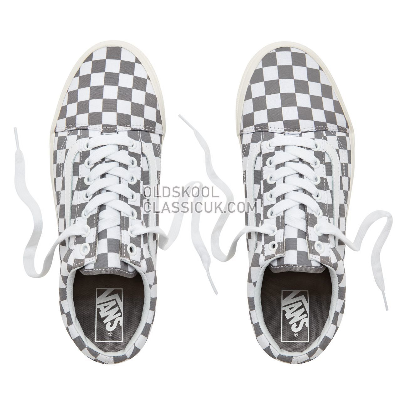 Vans Checkerboard Old Skool Sneakers Mens Womens Unisex (Checkerboard) Pewter/Marshmallow VA38G1U53 Shoes
