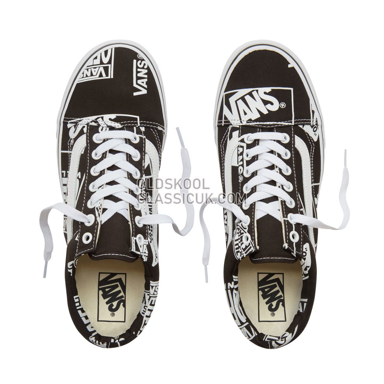 Vans Logo Mix Old Skool Sneakers Mens Womens Unisex (Logo Mix) Black/True White VA38G1UA9 Shoes