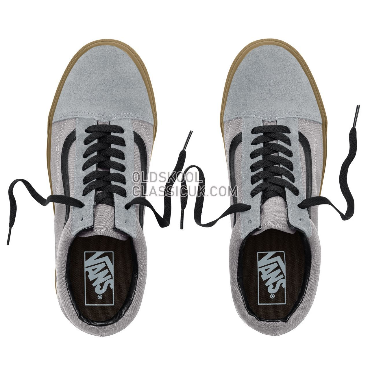 Vans Suede Gum Outsole Old Skool Sneakers Mens Womens Unisex (Gum Outsole) Alloy/Black VA38G1U40 Shoes
