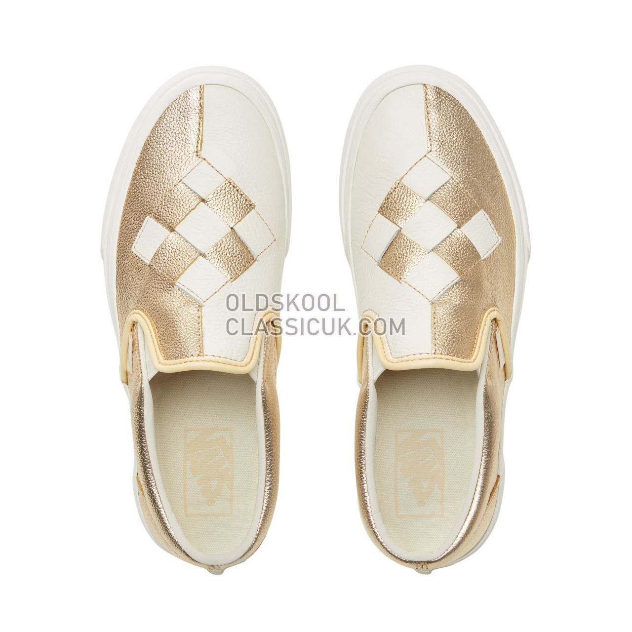 Vans Woven Leather Slip-On Sneakers Womens (Woven Leather) Brushed Gold/Snow White VN0A38F7VMU Shoes