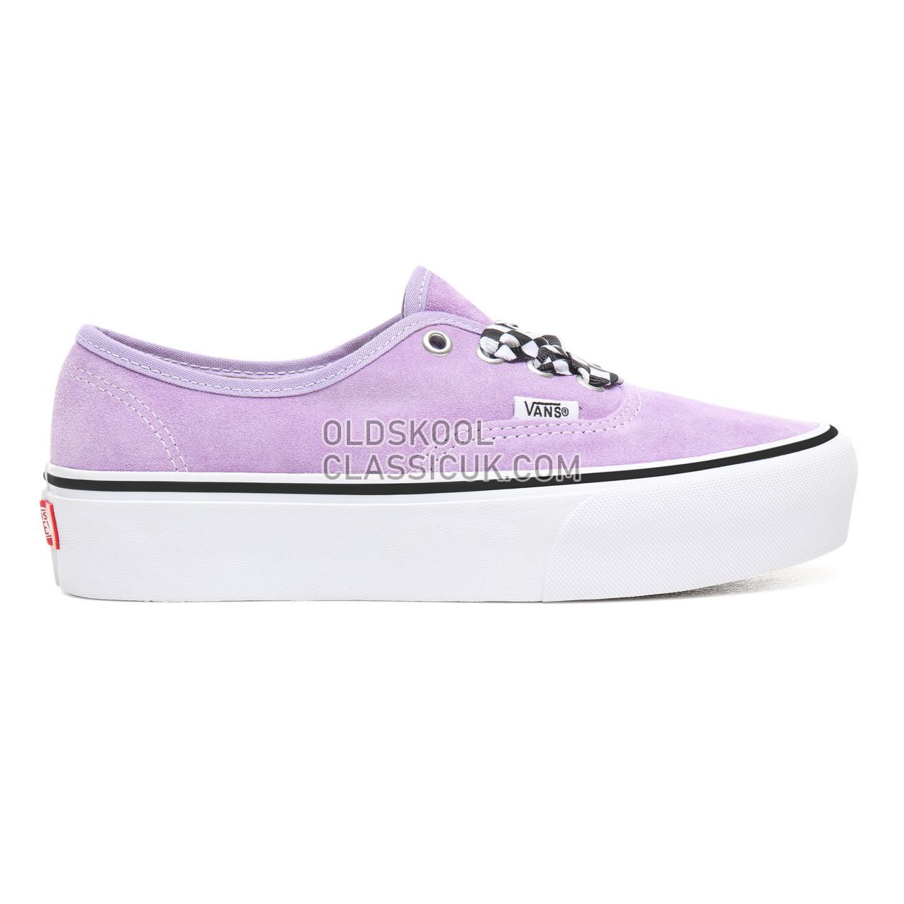 Vans Checkerboard Lace Authentic Platform 2.0 Sneakers Womens (Checkerboard Lace) Violet Tulip/True White VN0A3AV8S1V Shoes