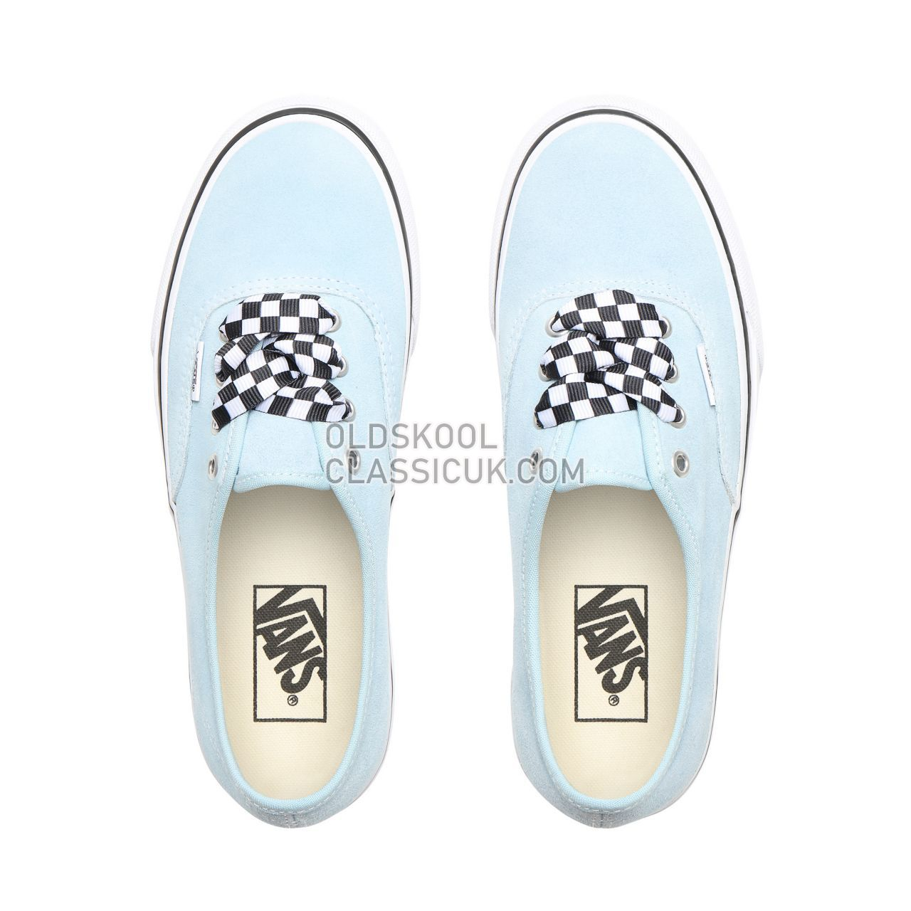 Vans Checkerboard Lace Authentic Platform 2.0 Sneakers Womens (Checkerboard Lace) Cool Blue/True White VN0A3AV8S1X Shoes