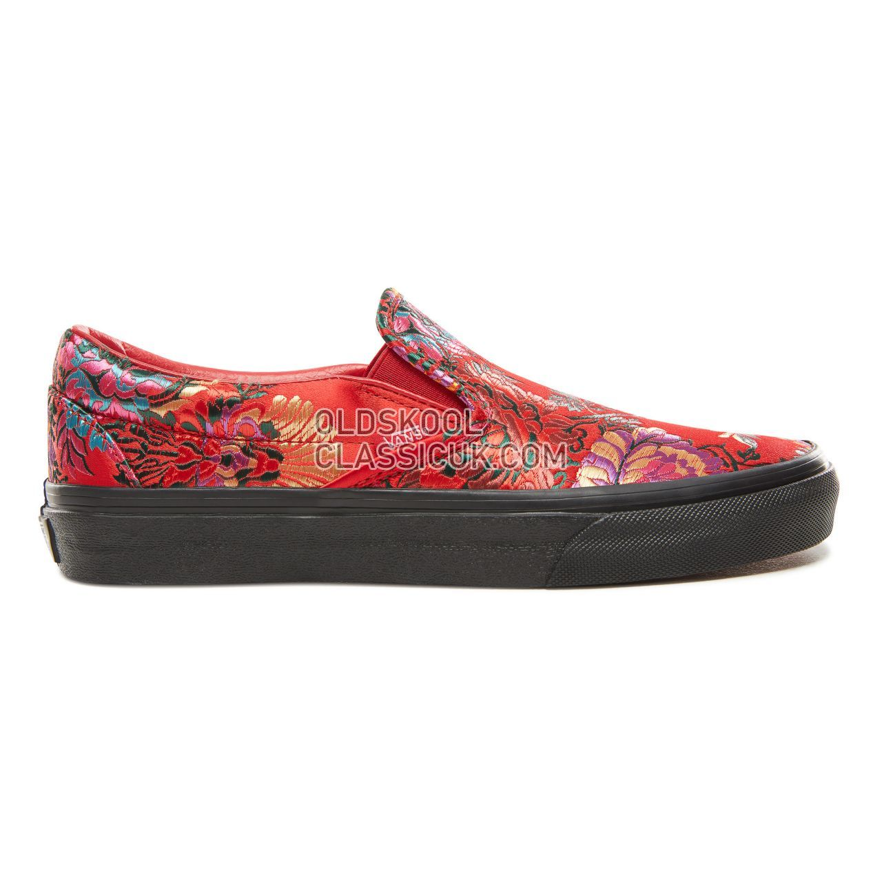 Vans Festival Satin Classic Slip-On Sneakers Womens (Festival Satin) Red/Black VN0A38F7ULP Shoes