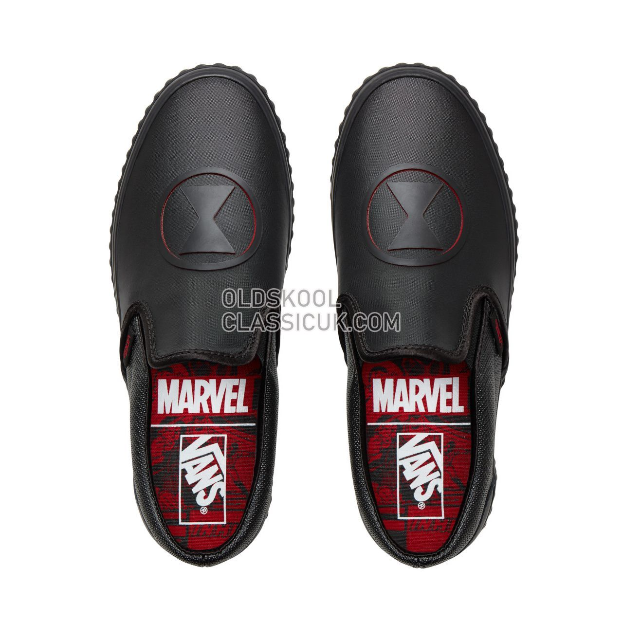 Vans X Marvel Classic Slip-On Sneakers Womens (Marvel) Black Widow/Black VA38F7U7K Shoes