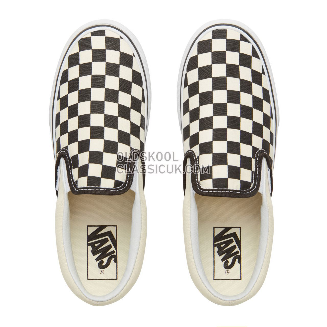 Vans Checkerboard Classic Slip-On Platform Sneakers Womens Black & White Chckerboard-White VN00018EBWW Shoes