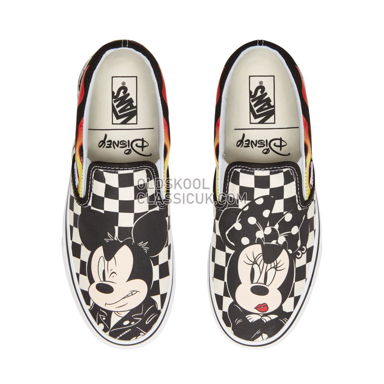 Vans Disney x Vans Classic Slip-On Sneakers Womens (Disney) Mickey & Minnie/Checker Flame VN0A38F7UJ4 Shoes