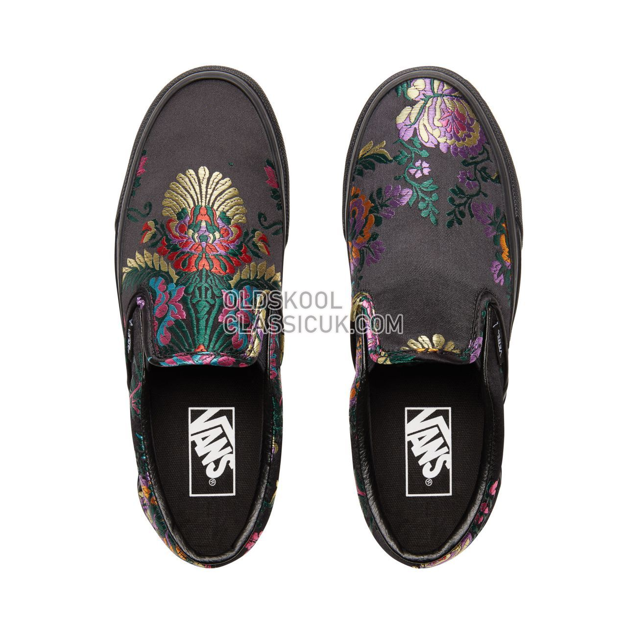 Vans Festival Satin Classic Slip-On Sneakers Womens (Festival Satin) Black/Black VN0A38F7ULN Shoes