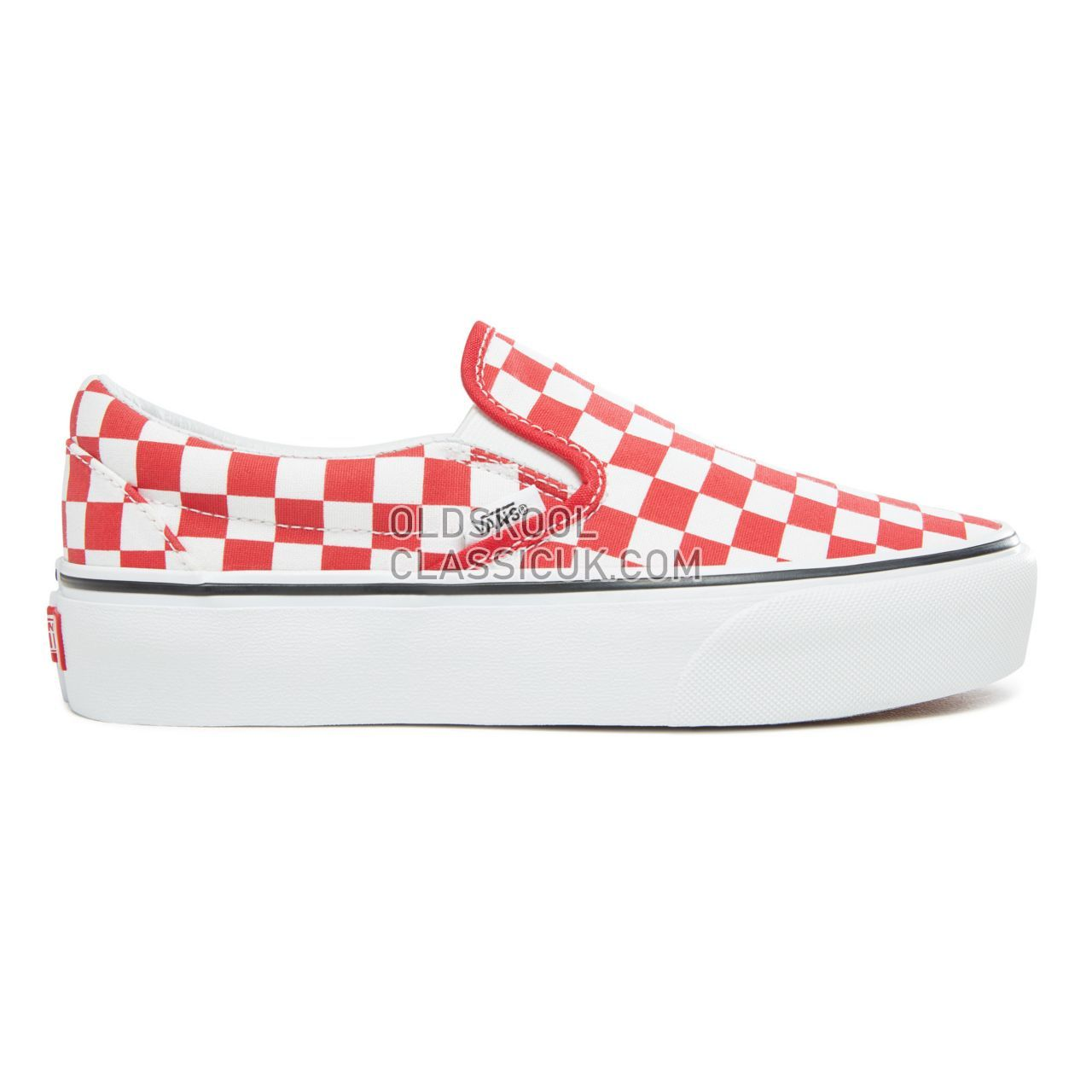 Vans Checkerboard Classic Slip-On Platform Sneakers Womens (Checkerboard) Racing Red/True White VA3JEZS4E Shoes