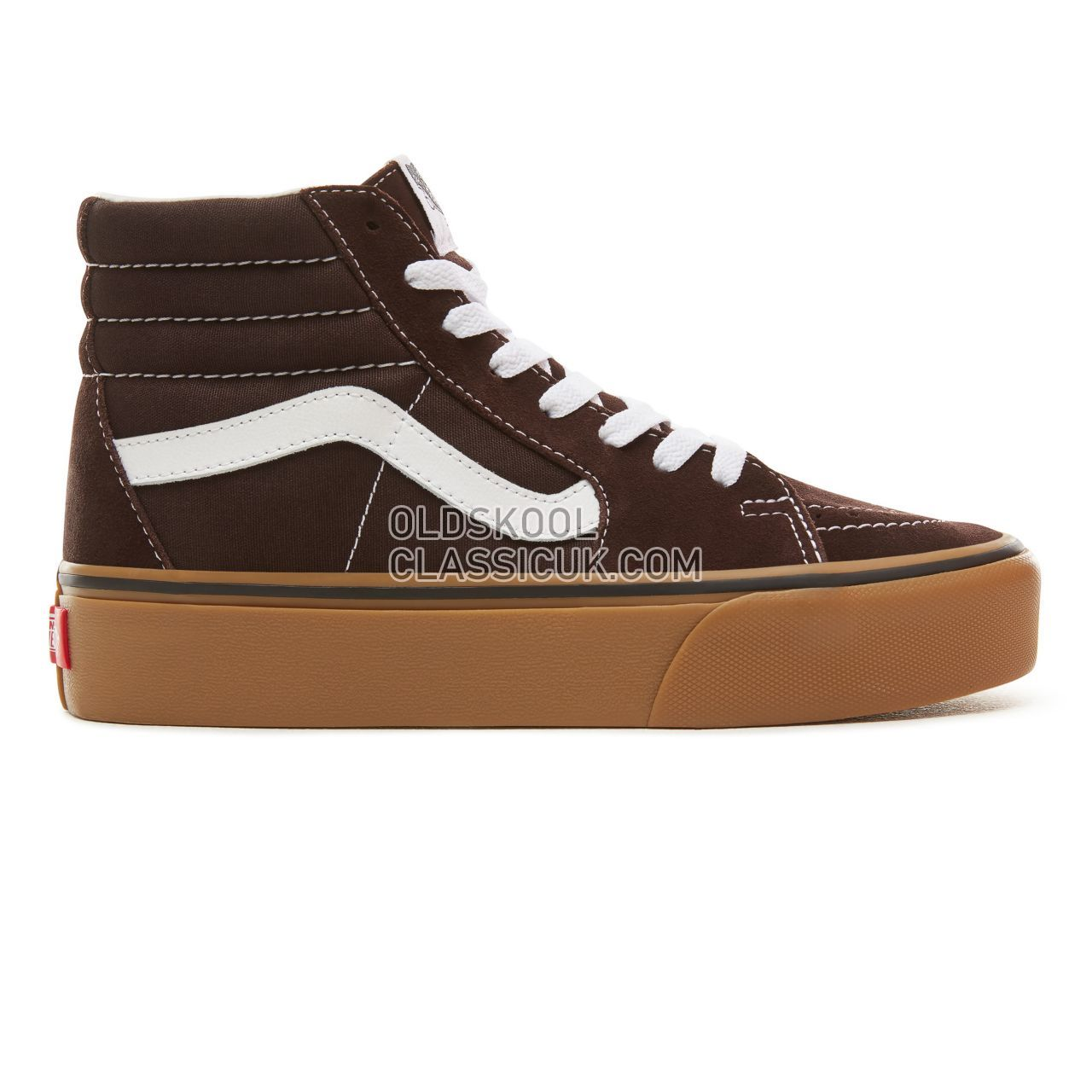 Vans Suede Gum Sk8-Hi Platform 2.0 Sneakers Womens (Gum) Chocolate Torte/True White VA3TKNUCC Shoes