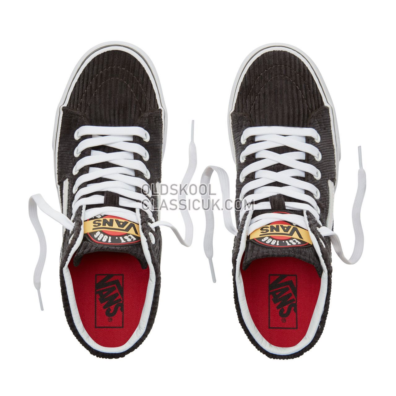 Vans Design Assembly Corduroy Sk8-Hi Sneakers Womens (Design Assembly) Black/True White VA38GEU55 Shoes