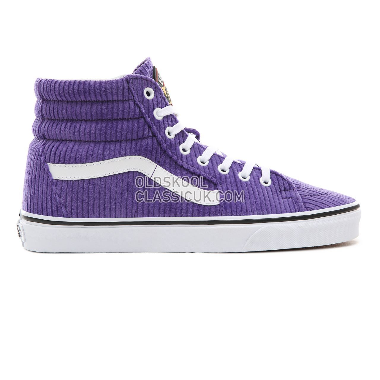 Vans Design Assembly Corduroy Sk8-Hi Sneakers Womens (Design Assembly) Heliotrope/True White VA38GEU7C Shoes