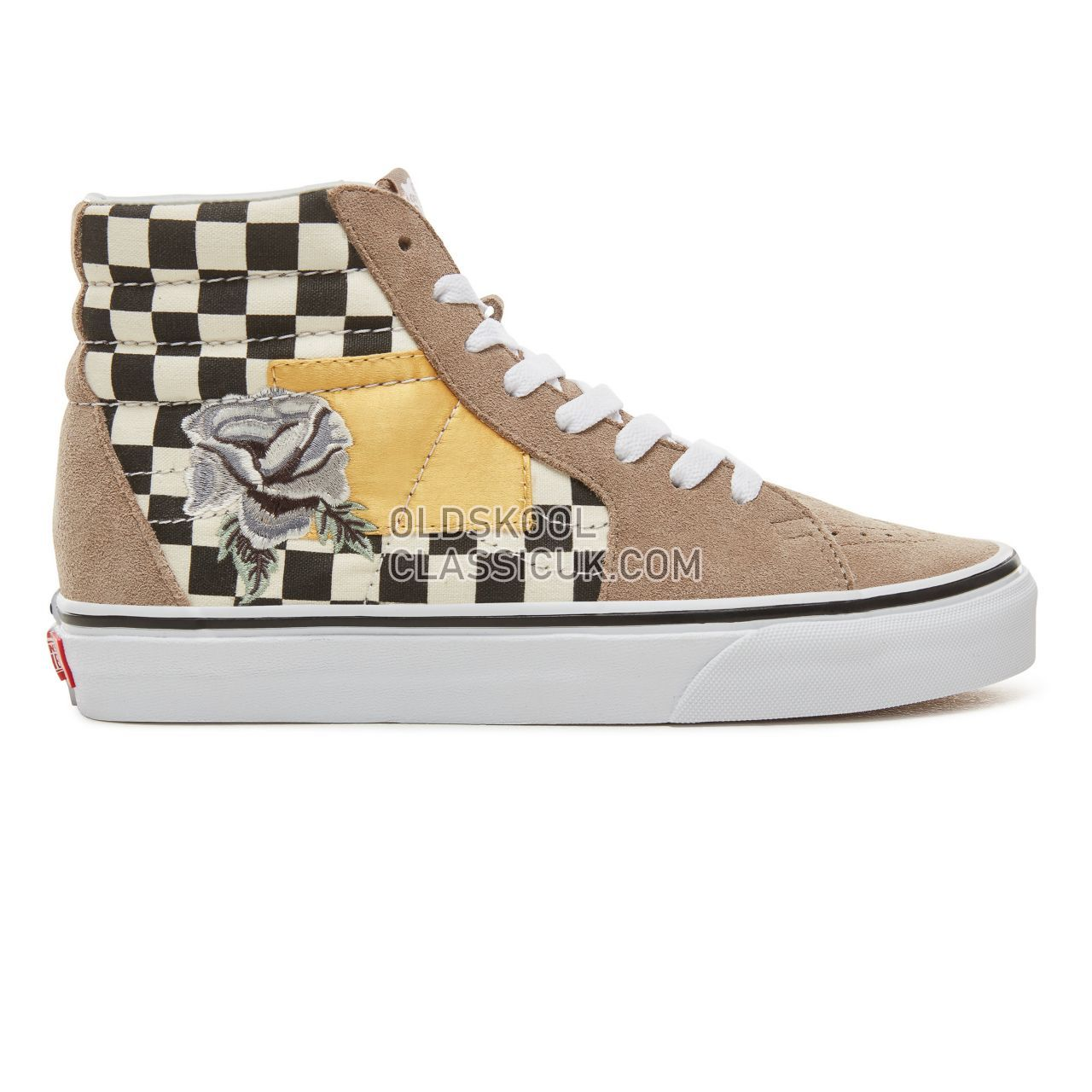 Vans Suede Satin Patchwork Sk8-Hi Sneakers Womens (Satin Patchwork) Checker/Black VA38GEUBK Shoes