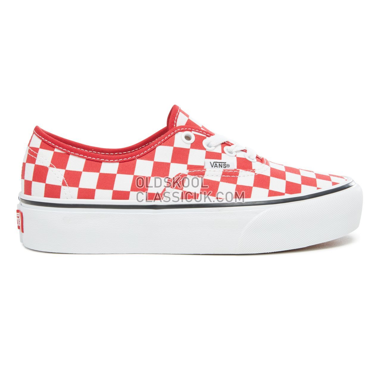 Vans Checkerboard Authentic Platform 2.0 Sneakers Womens (Checkerboard) Racing Red/True White VA3AV8S4E Shoes