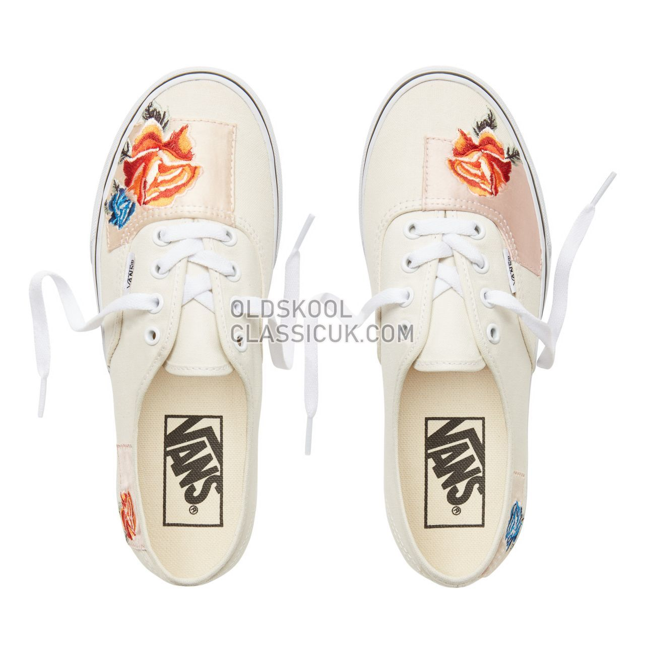 Vans Satin Patchwork Authentic Sneakers Womens (Satin Patchwork) Classic White/True White VA38EMU5Q Shoes