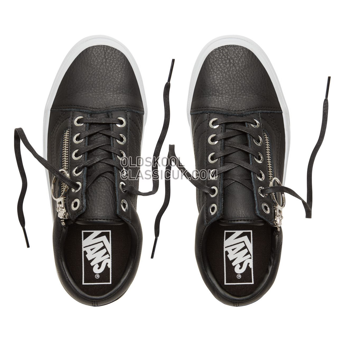 Vans Metal Hardware Old Skool Zip Sneakers Womens (Metal Hardware) Black/True White VA3493UB8 Shoes