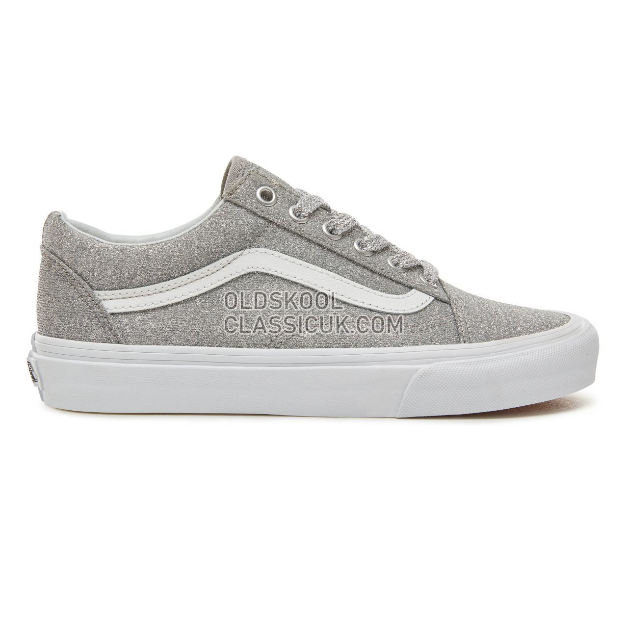 Vans Lurex Glitter Old Skool Sneakers Womens (Lurex Glitter) Silver/True White VA38G1UAW Shoes