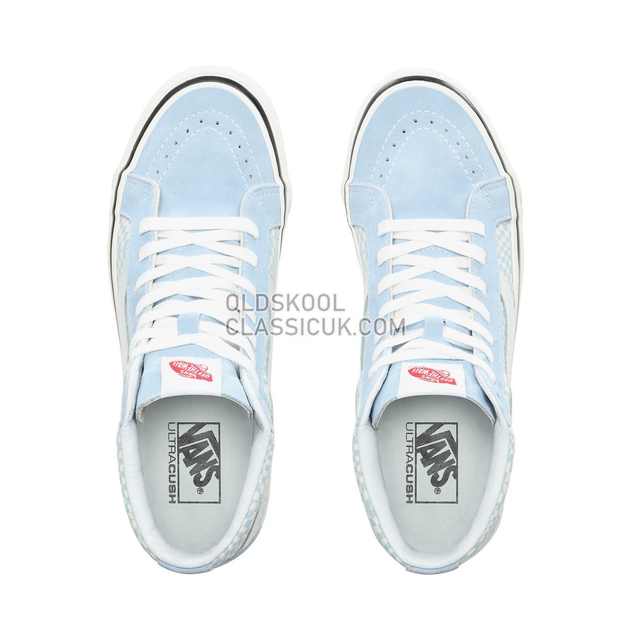 Vans Anaheim Factory Sk8-Hi 38 Dx Sneakers Mens (Anaheim Factory) Og Light Blue/White/Warp Check VN0A38GFVSG Shoes