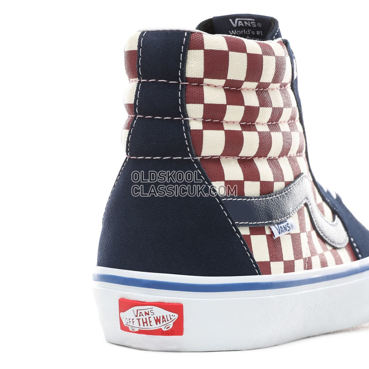025d15c9e9bf ... Vans Checker Sk8-Hi Pro Sneakers Mens (Checker) Dress Blues VN0A45JDVG8  Shoes