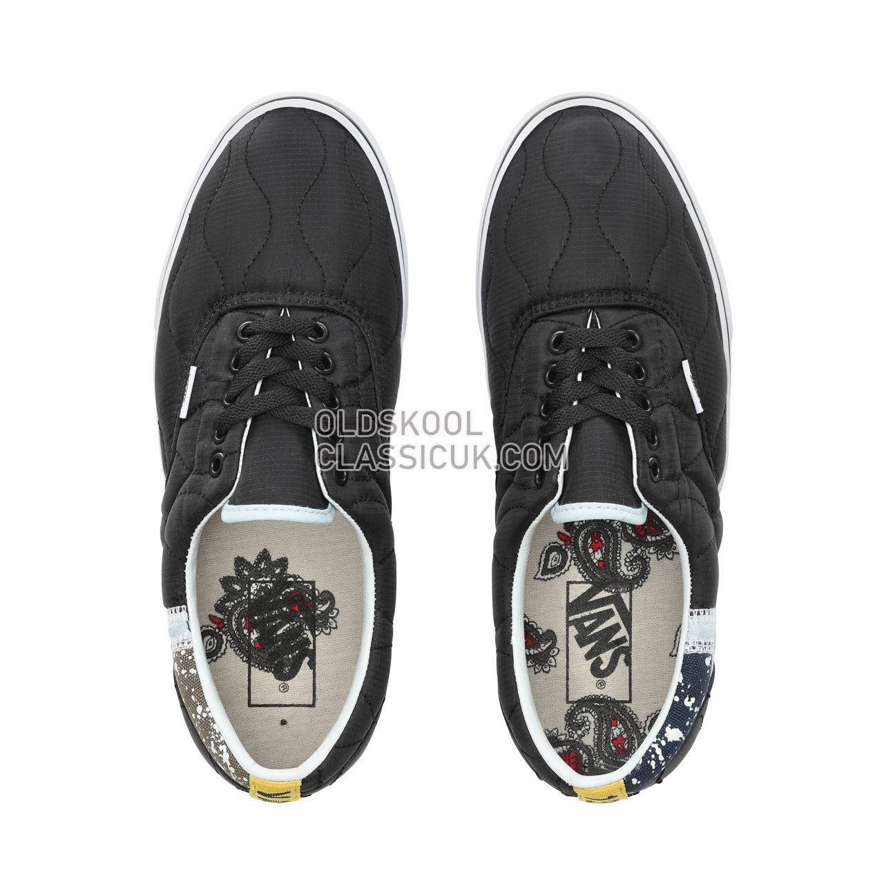 Vans Mixed Quilting Era Sneakers Mens (Mixed Quilting) Black/True White VN0A38FRVP6 Shoes