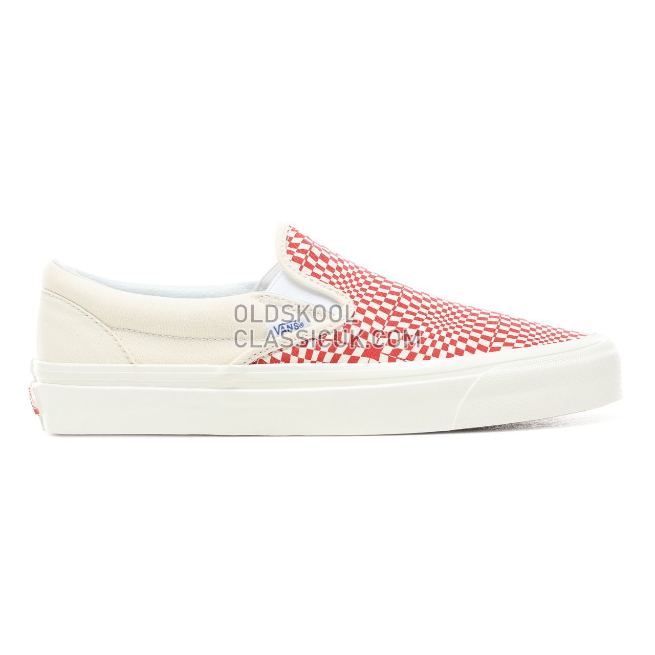 Vans Anaheim Factory Slip-On 98 DX Sneakers Mens (Anaheim Factory) Og Red/White/Warp Check VN0A3JEXVMZ Shoes
