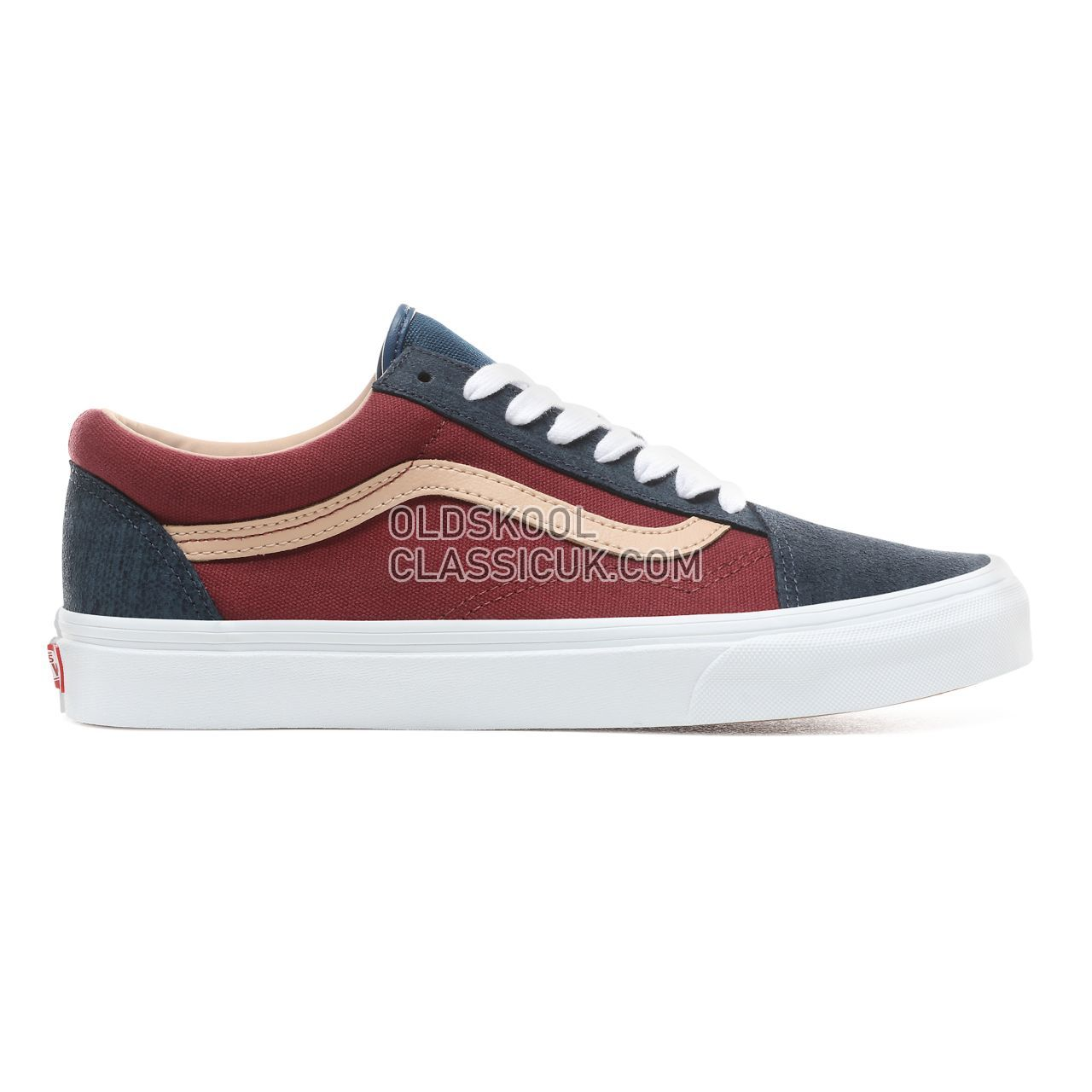 Vans Textured Suede Old Skool Sneakers Mens Womens Unisex (Textured Suede) Sailor Blue/Port VN0A38G1VMN Shoes