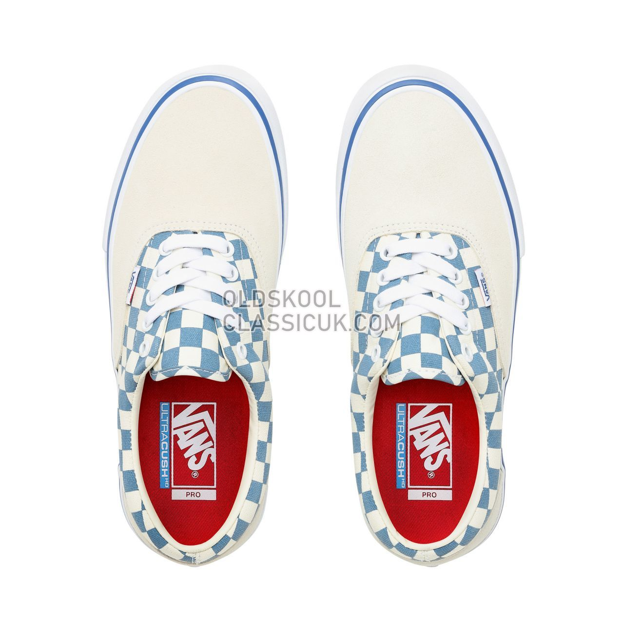 Vans Checker Era Pro Sneakers Mens (Checker) Classic White/Blue Ashes VN0A45JAVFB Shoes