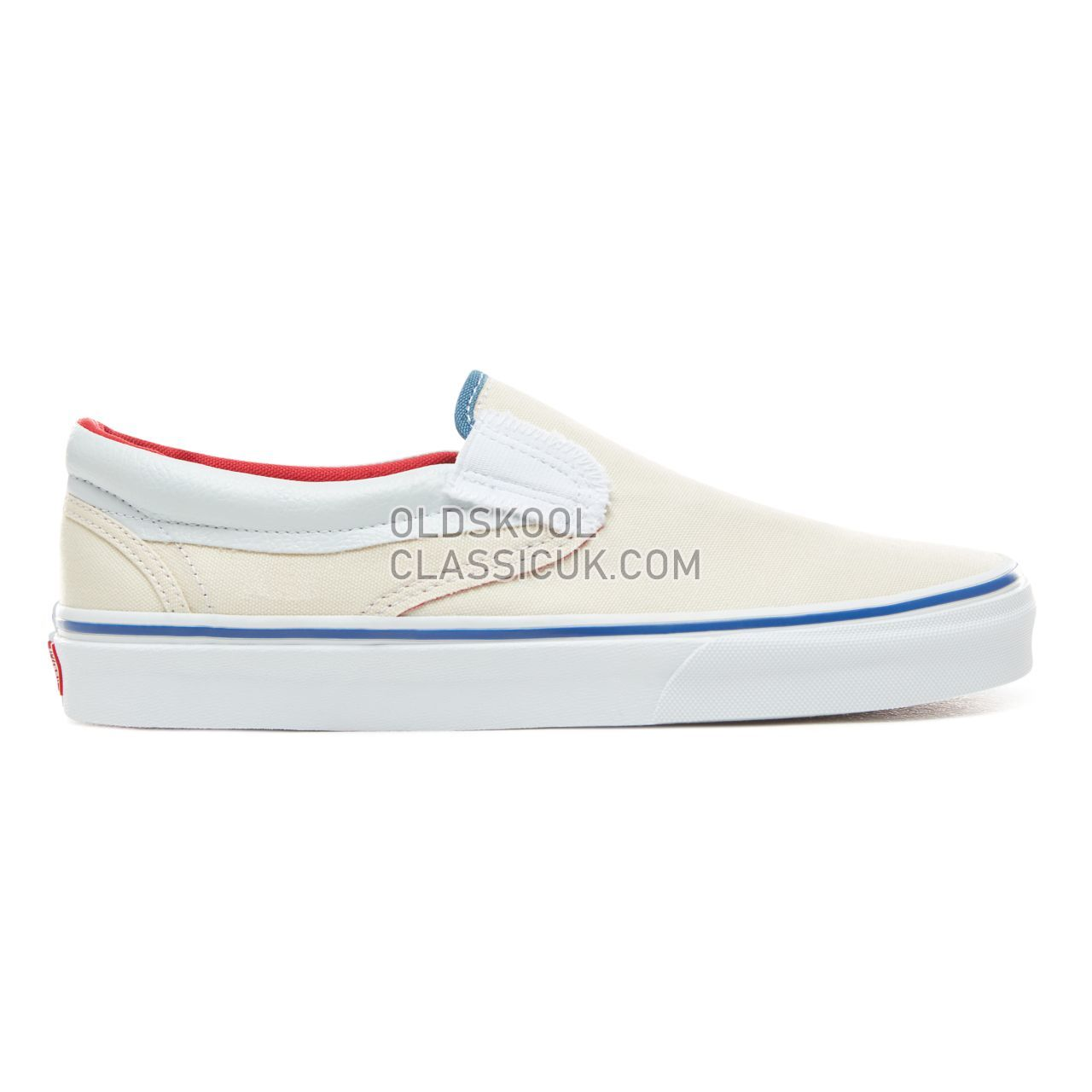 Vans Outside In Classic Slip-On Sneakers Mens (Outside In) Natural/Stv Navy/Red VN0A38F7VME Shoes