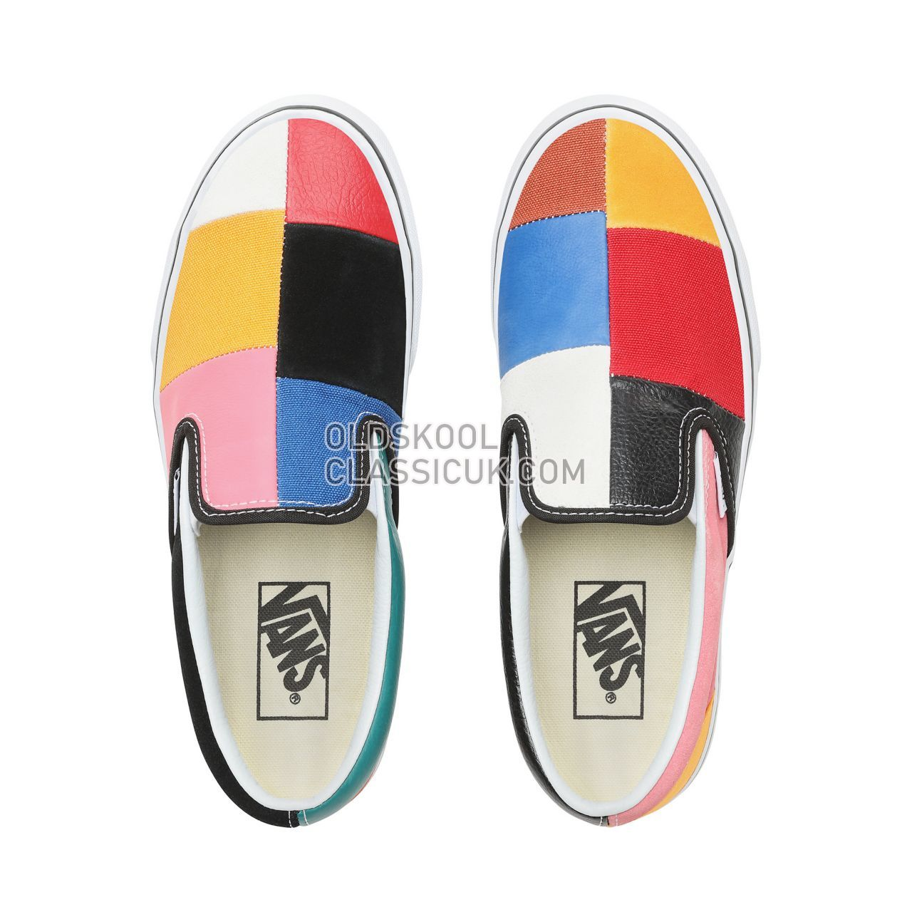 Vans Patchwork Slip-On Sneakers Womens (Patchwork) Multi/True White VN0A38F7VMF Shoes